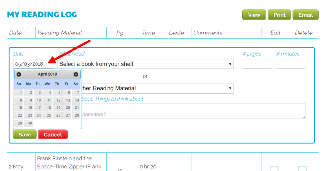 Reading Log Calendar