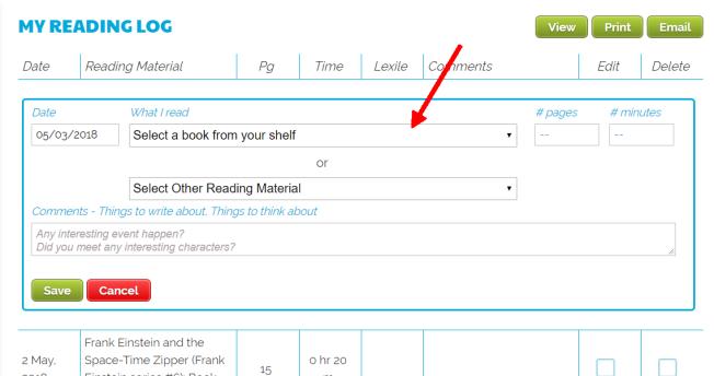 Reading Log Select